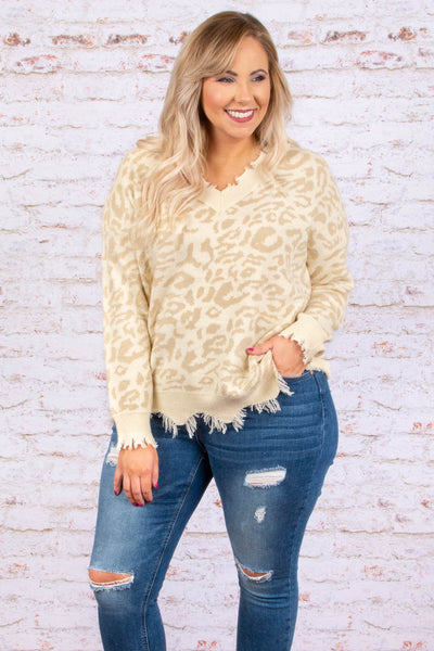 Pull You Close Sweater, Leopard-Taupe