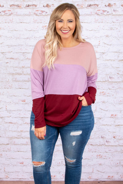 shirt, long sleeve, blush, purple, red, colorblock, loose, comfy