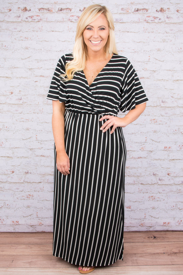 Party In Stripes Maxi Dress, Black