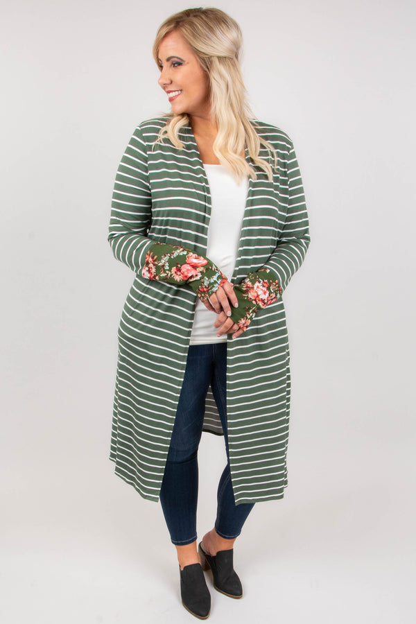 No Love Lost Cardigan, Olive-Ivory