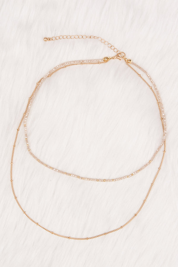 necklace, gold, thin, layered, dainty, beading