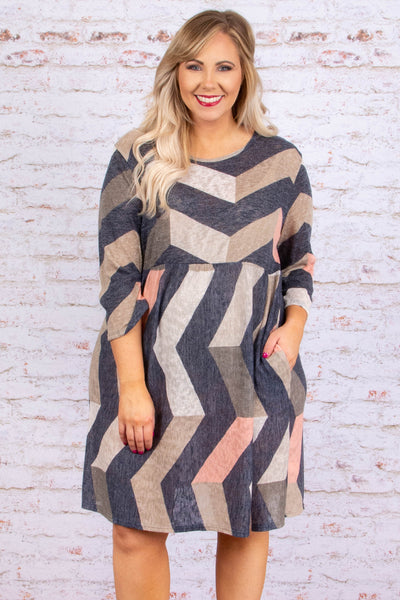 dress, short, three quarter sleeve, babydoll, flowy, charcoal, mocha, blush, chevron, comfy