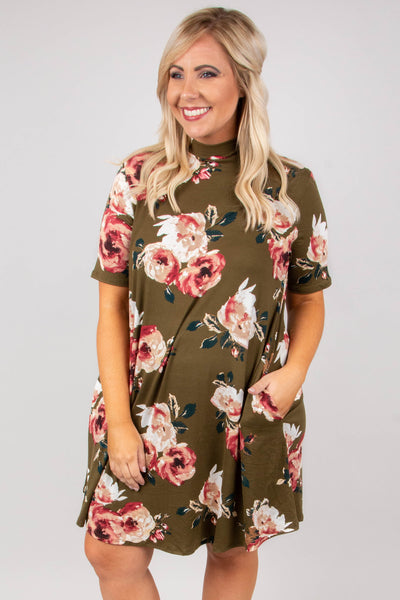 The Happy Wanderer Dress, Olive