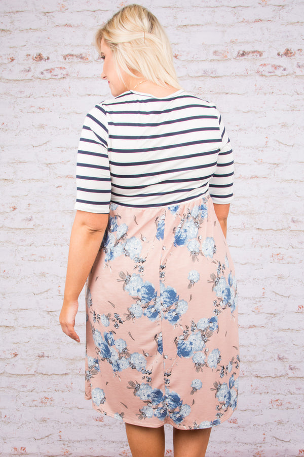 dress, pattern block, black and white stripe, pink and blue floral, pockets, short sleeve, midi length