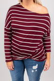 top, long sleeve, burgundy, stripes, ivory, twist waist, off the shoulder
