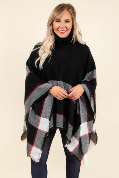 poncho, long sleeve, turtle neck, long, flowy, fringed hem, black, white, red, plaid, comfy, outerwear, fall, winter