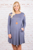 Missing Pieces Dress, Dusty Blue