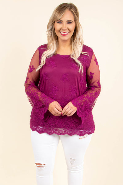 shirt, long sleeve, bell sleeves, all over lace, sheer sleeves, scallop hems, form fitting, pink, fall, winter