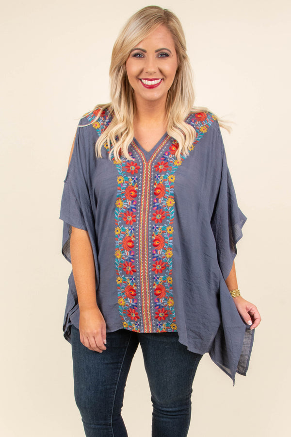 Farmers Market Top, Denim Blue