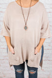 tunic, short sleeves, mocha, solid, front pockets, side slits, knit, detailed hem, comfy, cozy, fall