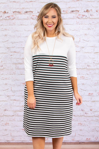 dress, midi, three quarter sleeve, white, black, striped, form fitting, comfy