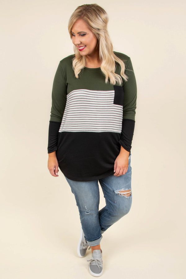 top, casual top, black, green, white, olive, stripe, colorblock, long sleeve, cute