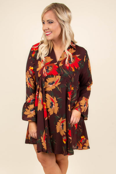 dress, short, long sleeve, collared, vneck, ruffle sleeves, flowy, wine, floral, red, mustard, green, black, comfy