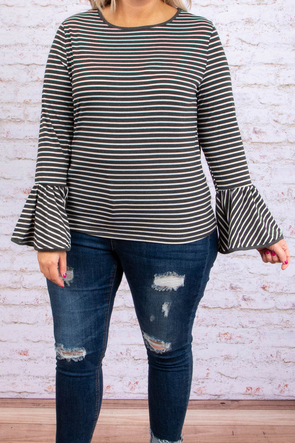 shirt, long sleeve, bell sleeves, short, charcoal, white, striped, comfy, fitted, fall, winter