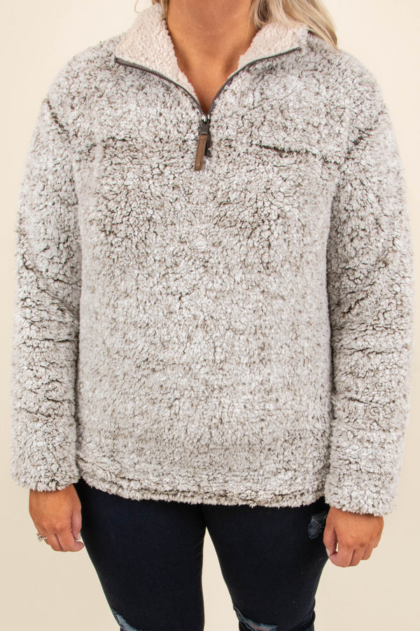 Fuzzy Feelings Pullover, Brown
