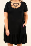 dress, short, short sleeve, scoop neck, crisscross neckline, flowy, black, comfy