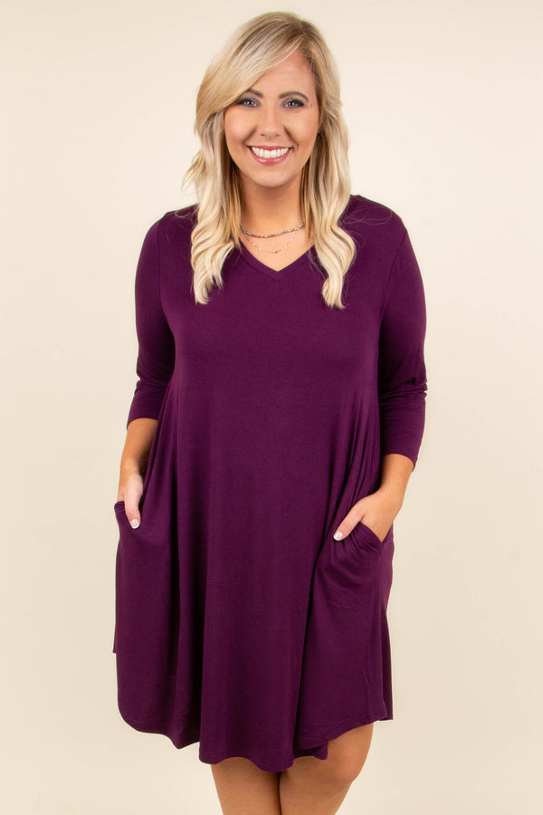 dress, three quarter sleeve, v neck, dark plum, flowy, pockets, shorts