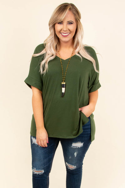 Comfy Travels Top, Army Green