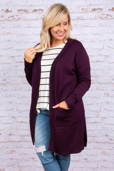 Made My Day Cardigan, Dark Plum