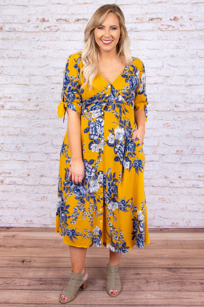 Endlessly Charming Dress, Mustard