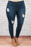 jeggings, blue, distressed, ripped, long, skinny, comfy