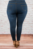 Rebel Heart Jeggings, Dark Wash