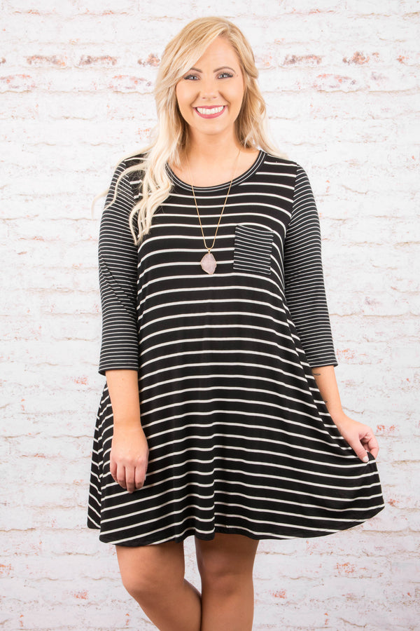 Drawing The Line Dress, Black