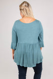 shirt, three quarter sleeve, ruffle sleeves, babydoll, long, flowy, blue, comfy