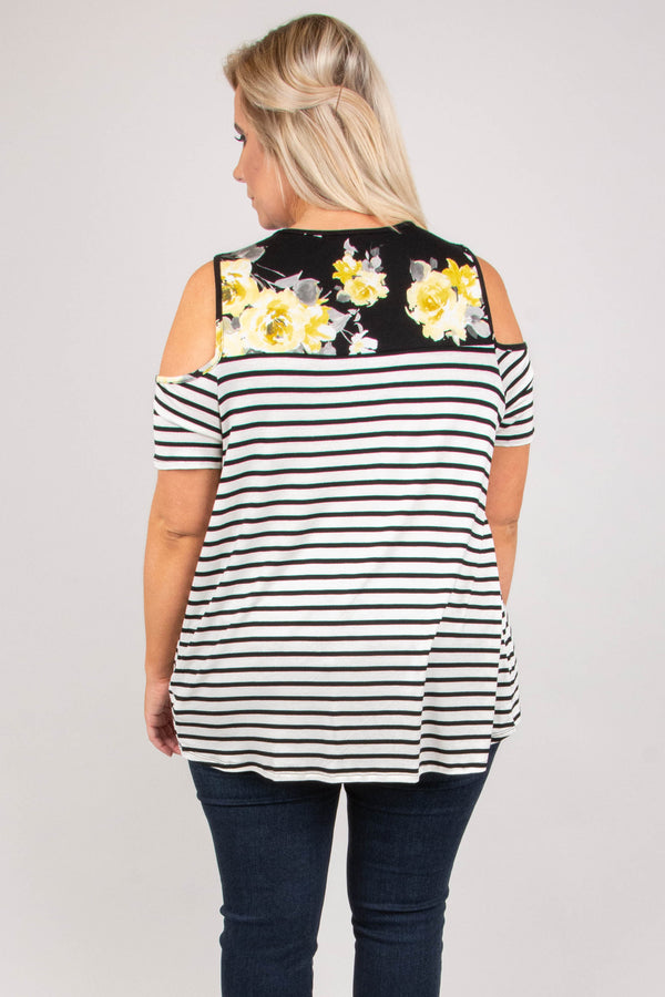 One To Remember Top, Ivory-Black