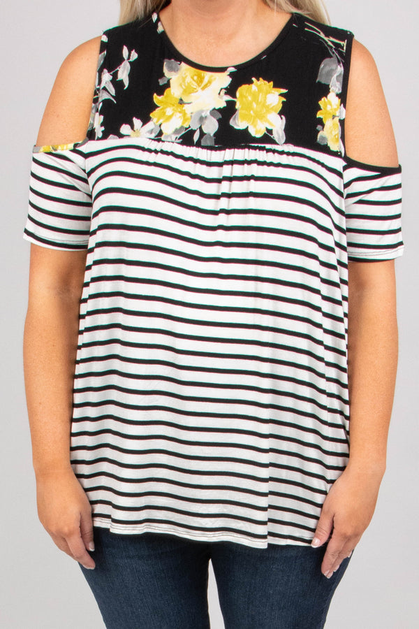 top, cold shoulder, short sleeve, ivory, black, striped, floral, yellow