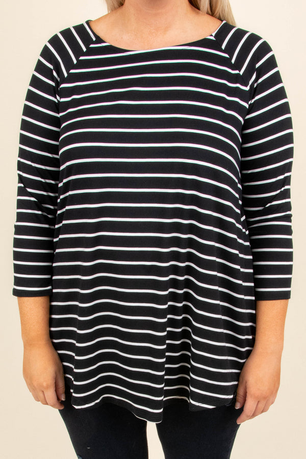 top, three quarter sleeve, black, white stripe, flowy, fall, winter
