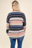 sweater, long sleeves, tie front, black, tan, pink, blue, stripes, comfy, cozy, fall, winter
