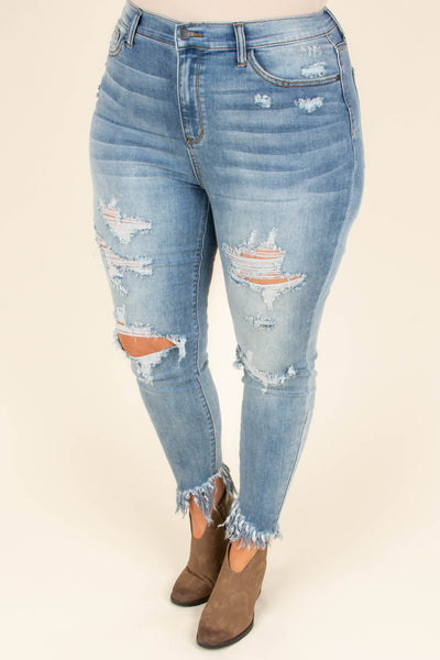 Endless Sunsets Skinny Jeans, Medium Blue