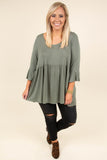 shirt, three quarter sleeve, babydoll, bell sleeves, olive, comfy, flowy