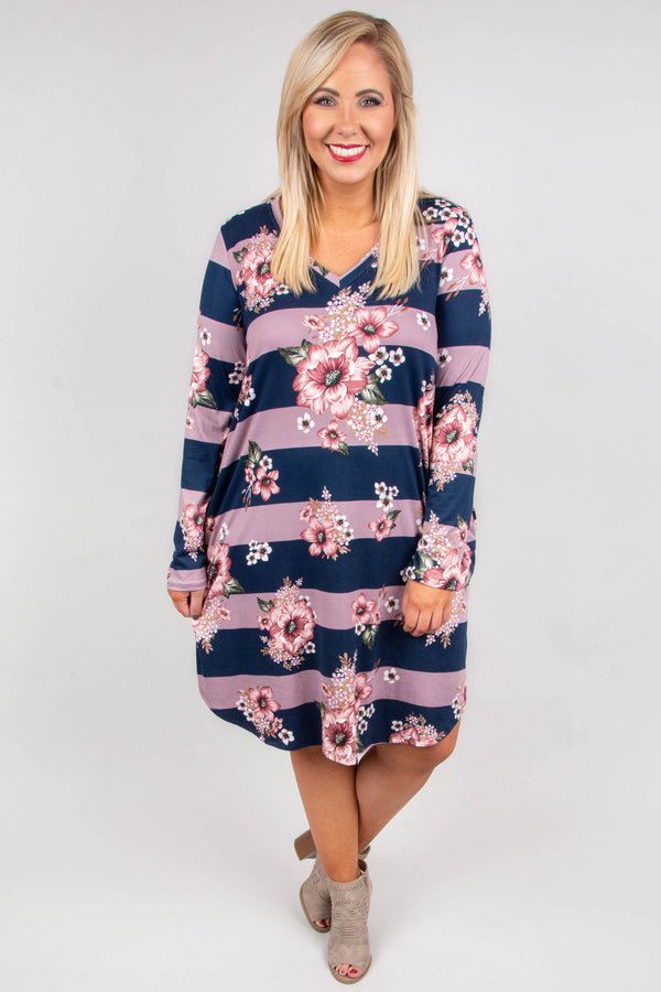 dress, casual dress, long sleeve, knee length, striped, floral, pink, blue