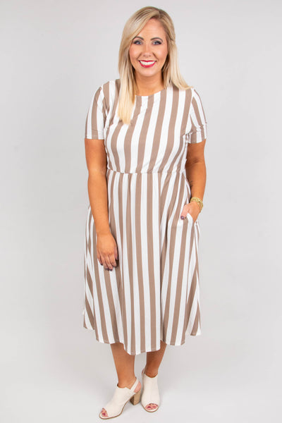 Tied To The Tide Dress, Taupe