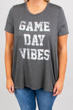 shirt, short sleeve, longer back, charcoal, graphic, game day vibes, white, comfy, flowy