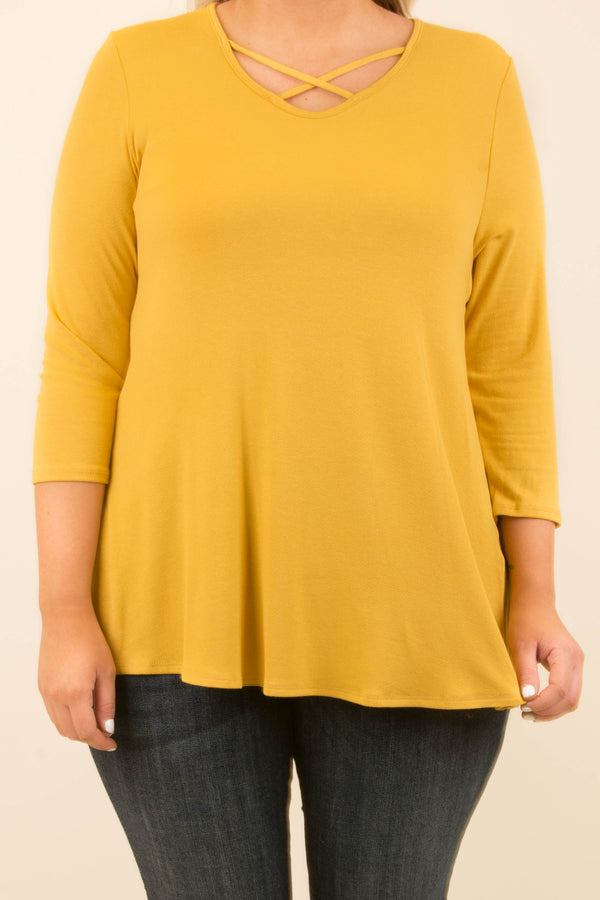 Crossed Out Tunic, Mustard