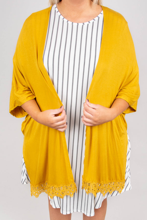 Captivated By You Cardigan, Mustard