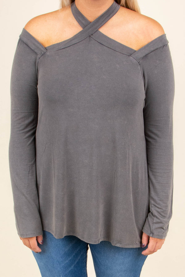 top, long sleeve, neckline detail, gray