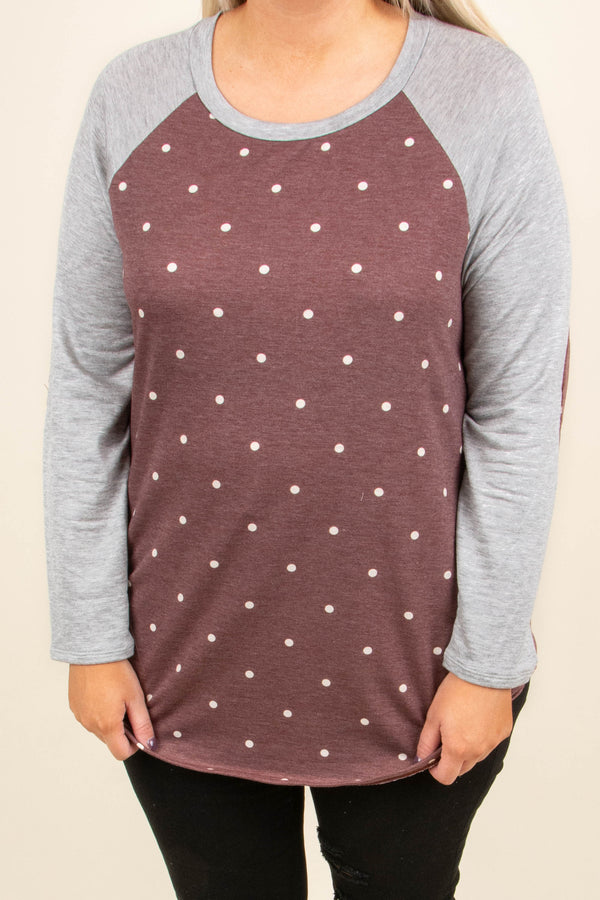Dots Of Love Top, Burgundy