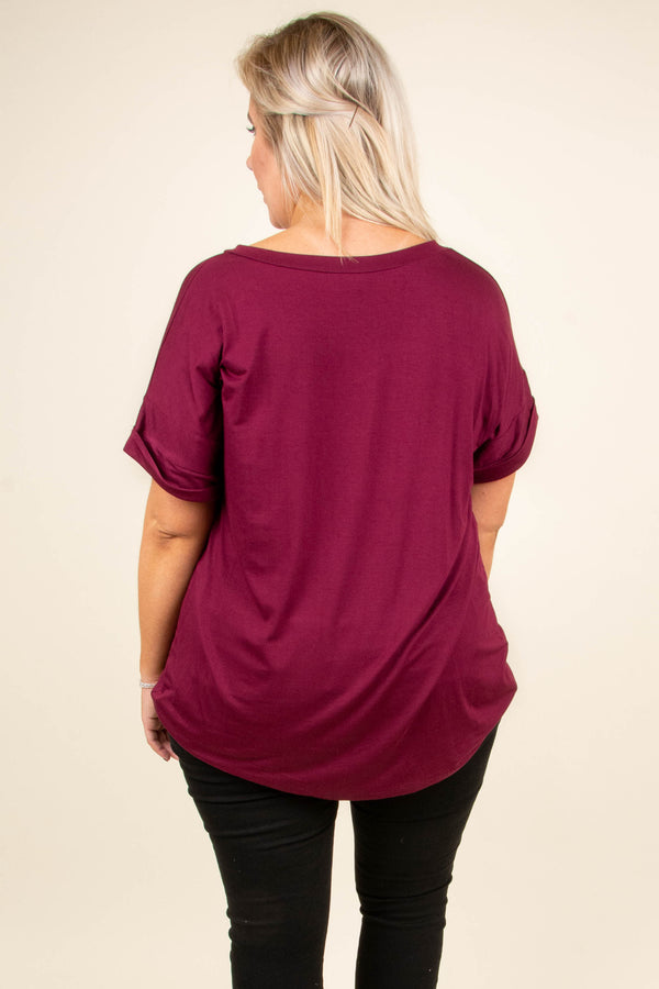 Ease Into The Day Top, Burgundy