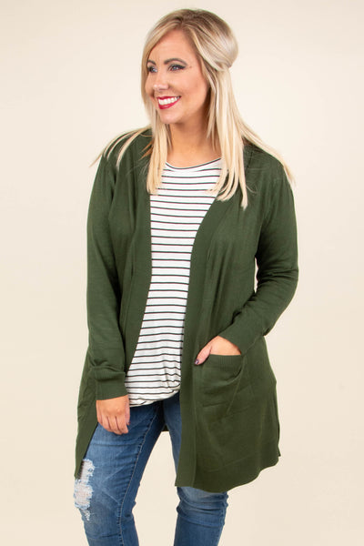 Movie Date Cardigan, Army Green