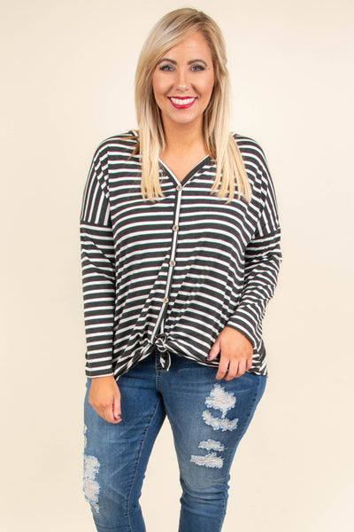 top, black, long sleeve, white stripes, button down, tie front, v neck