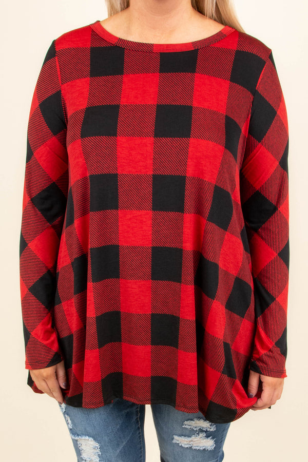 tunic, long sleeve, long, flowy, red, black, plaid, comfy, fall, winter