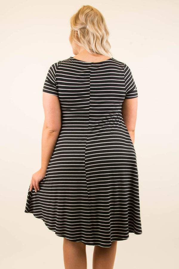 All Lined Up Dress, Black-Ivory