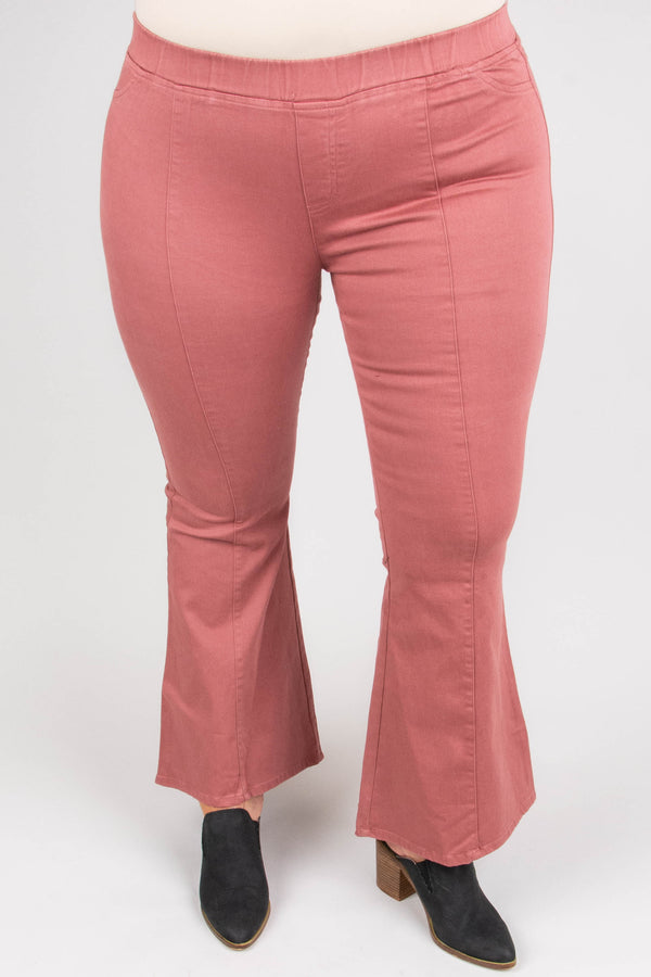 pants, long, flare, pink, stitched detail, elastic waist