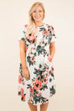 dress, midi, short sleeve, curved hem, flowy, white, floral, pink, green, black, comfy, spring, summer