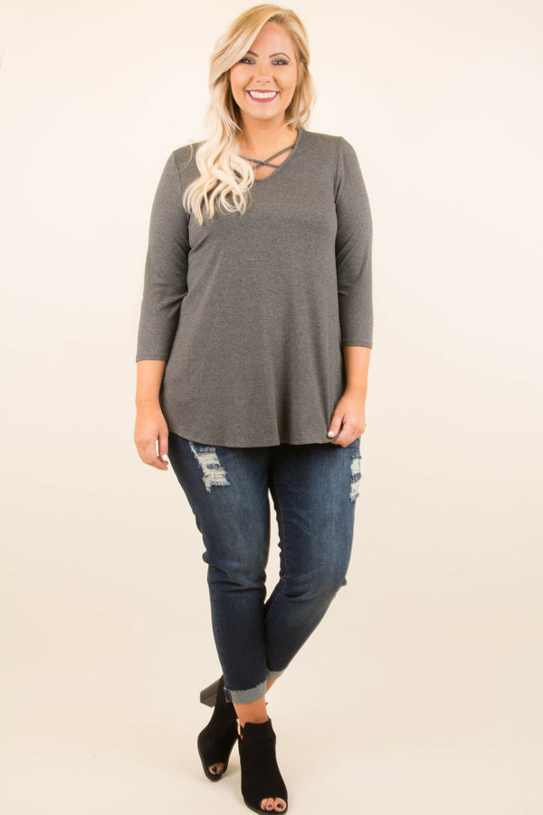 Crossed Out Tunic, Charcoal