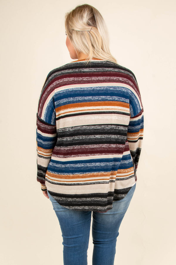 Headed North Sweater, Black-Burgundy